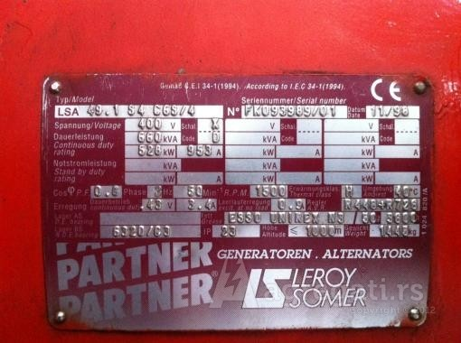 GESAN 660KVA MAN D2842-Leroy Somer LSA 49.1 S4 C6S-4