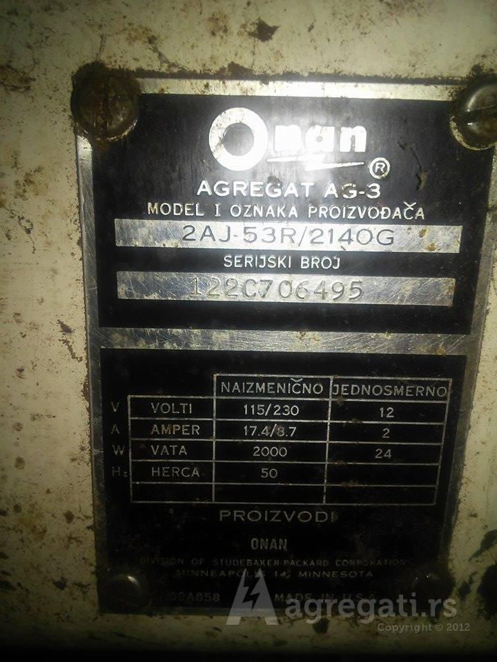 Onan 2AJ-53R – 2000w prenosivi benzin agregat